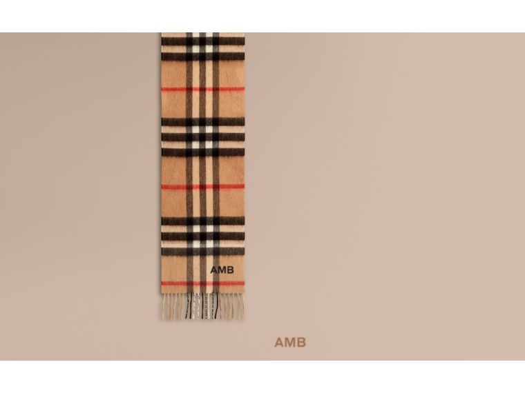 The Mini Classic Cashmere Scarf in Check in Camel | Burberry - cell image 1