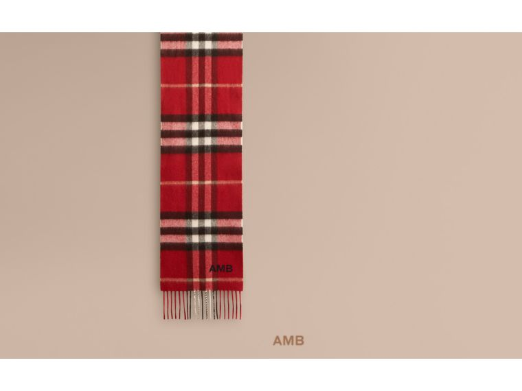 The Mini Classic Check Cashmere Scarf in Parade Red | Burberry United Kingdom - cell image 1