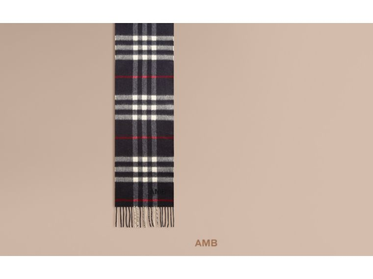Navy The Mini Classic Cashmere Scarf in Check Navy - cell image 1