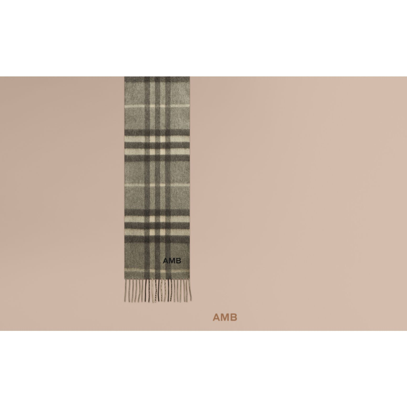 The Mini Classic Cashmere Scarf in Check in Pale Grey - gallery image 2