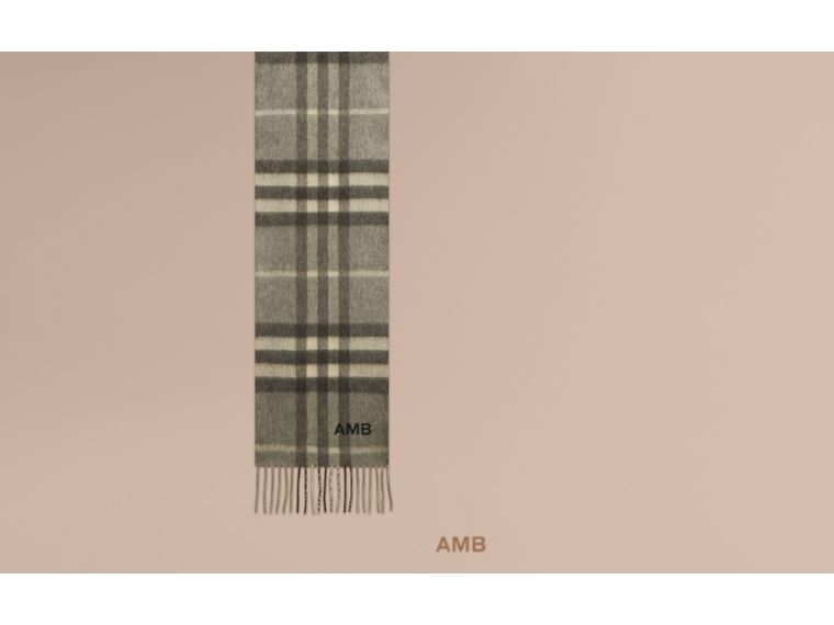 Pale grey The Mini Classic Cashmere Scarf in Check Pale Grey - cell image 1