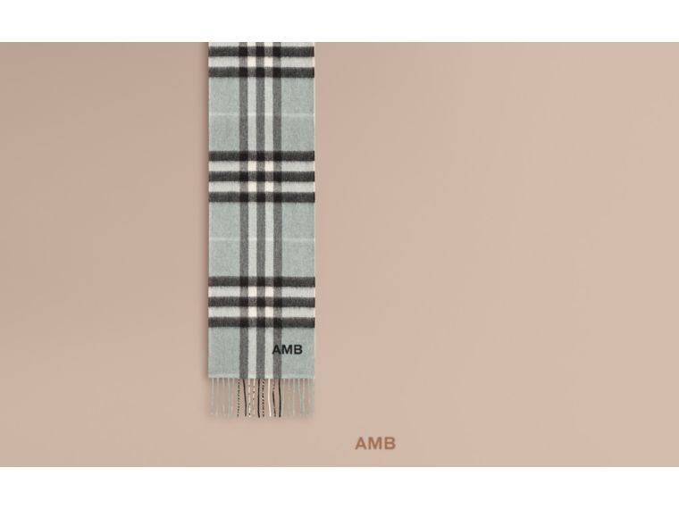 The Mini Classic Cashmere Scarf in Check in Dusty Mint | Burberry - cell image 1