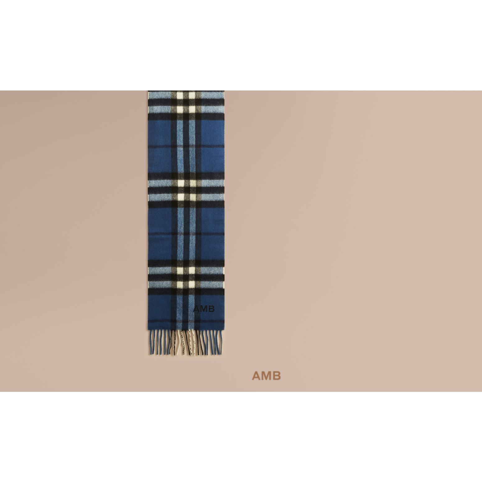 Cadet blue The Mini Classic Cashmere Scarf in Check Cadet Blue - gallery image 2