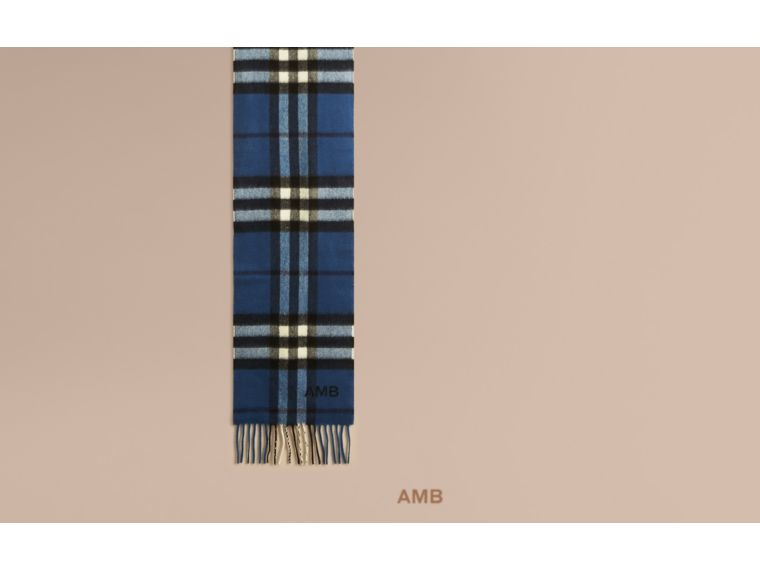 Cadet blue The Mini Classic Cashmere Scarf in Check Cadet Blue - cell image 1