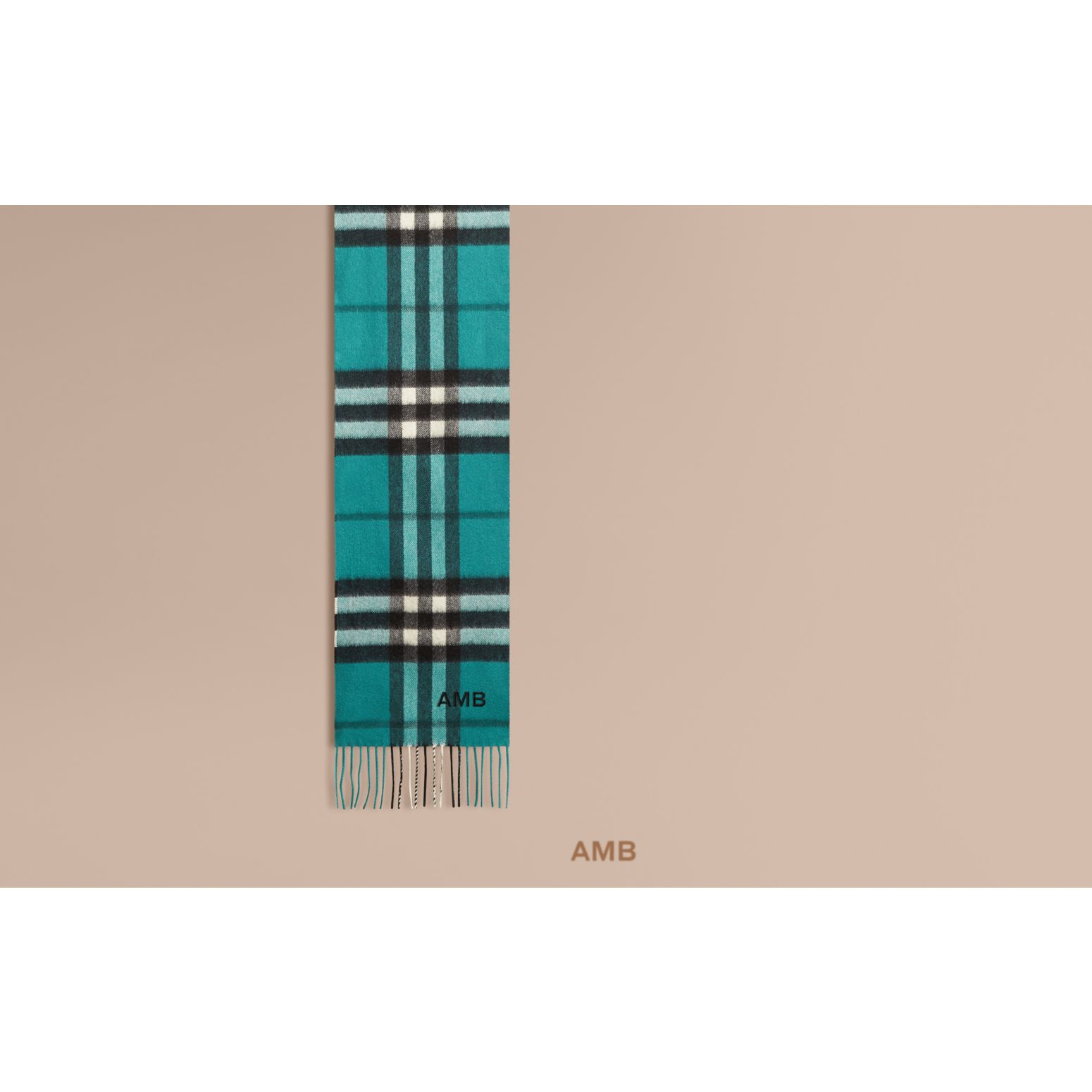 Dark aqua The Mini Classic Cashmere Scarf in Check Dark Aqua - gallery image 2