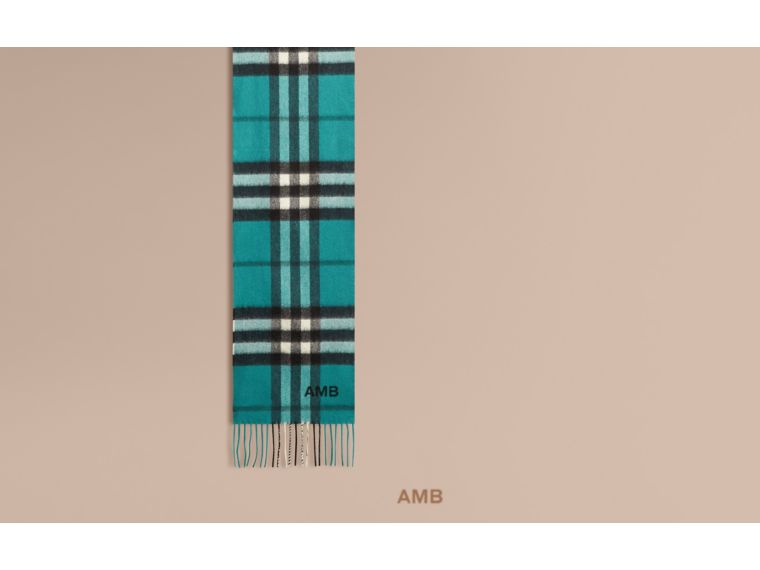 Dark aqua The Mini Classic Cashmere Scarf in Check Dark Aqua - cell image 1