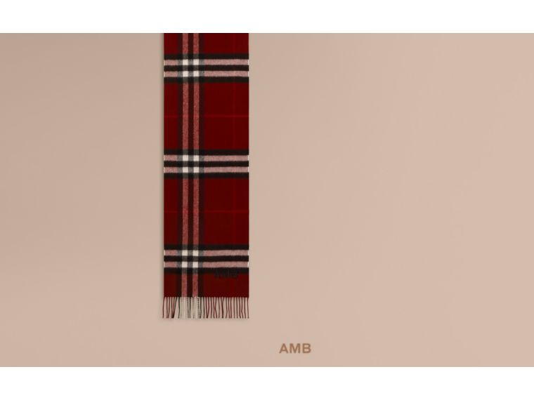 The Mini Classic Cashmere Scarf in Check in Plum - cell image 1