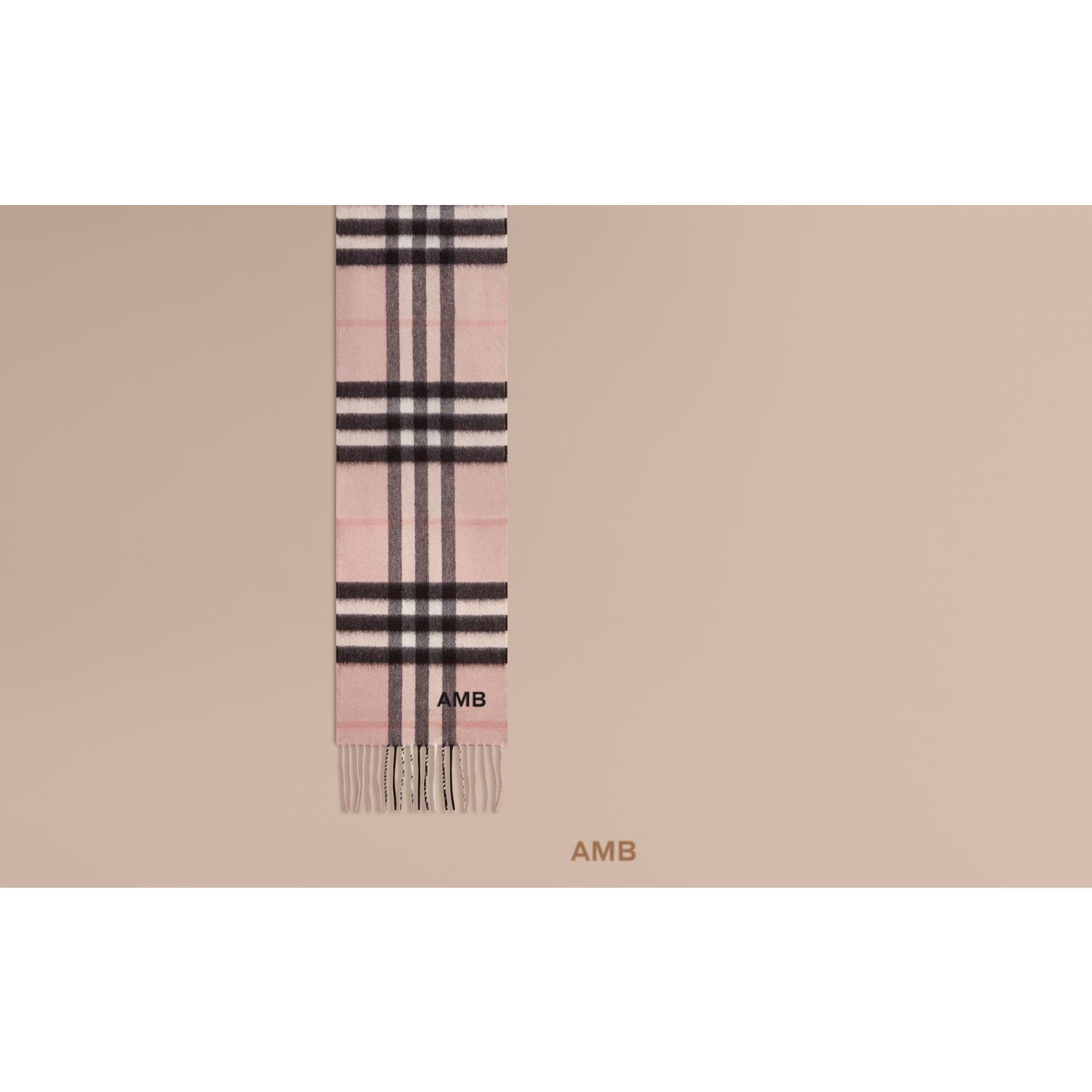 The Mini Classic Cashmere Scarf in Check in Ash Rose - gallery image 2