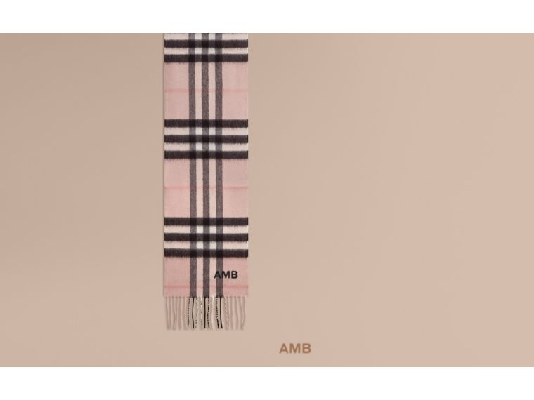 The Mini Classic Check Cashmere Scarf in Ash Rose | Burberry - cell image 1