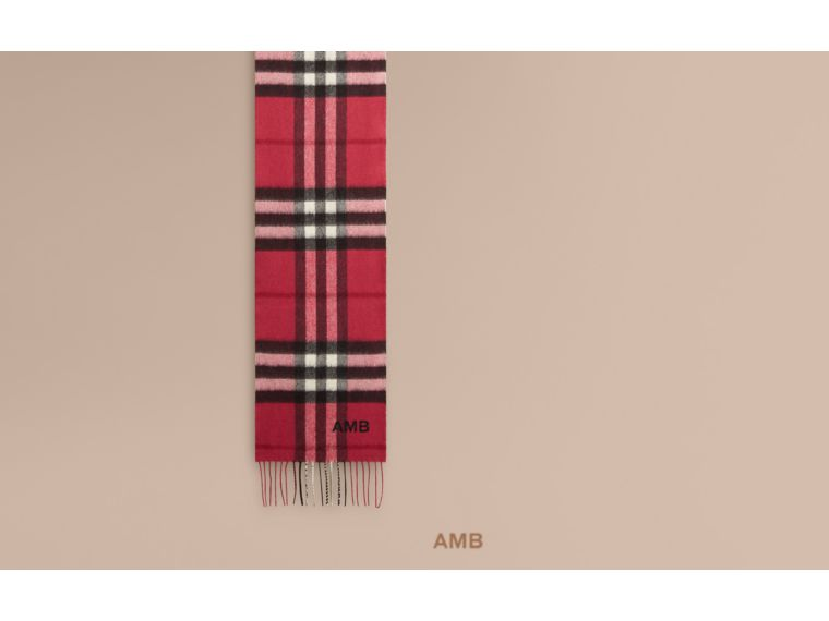 Fuchsia pink The Mini Classic Cashmere Scarf in Check Fuchsia Pink - cell image 1