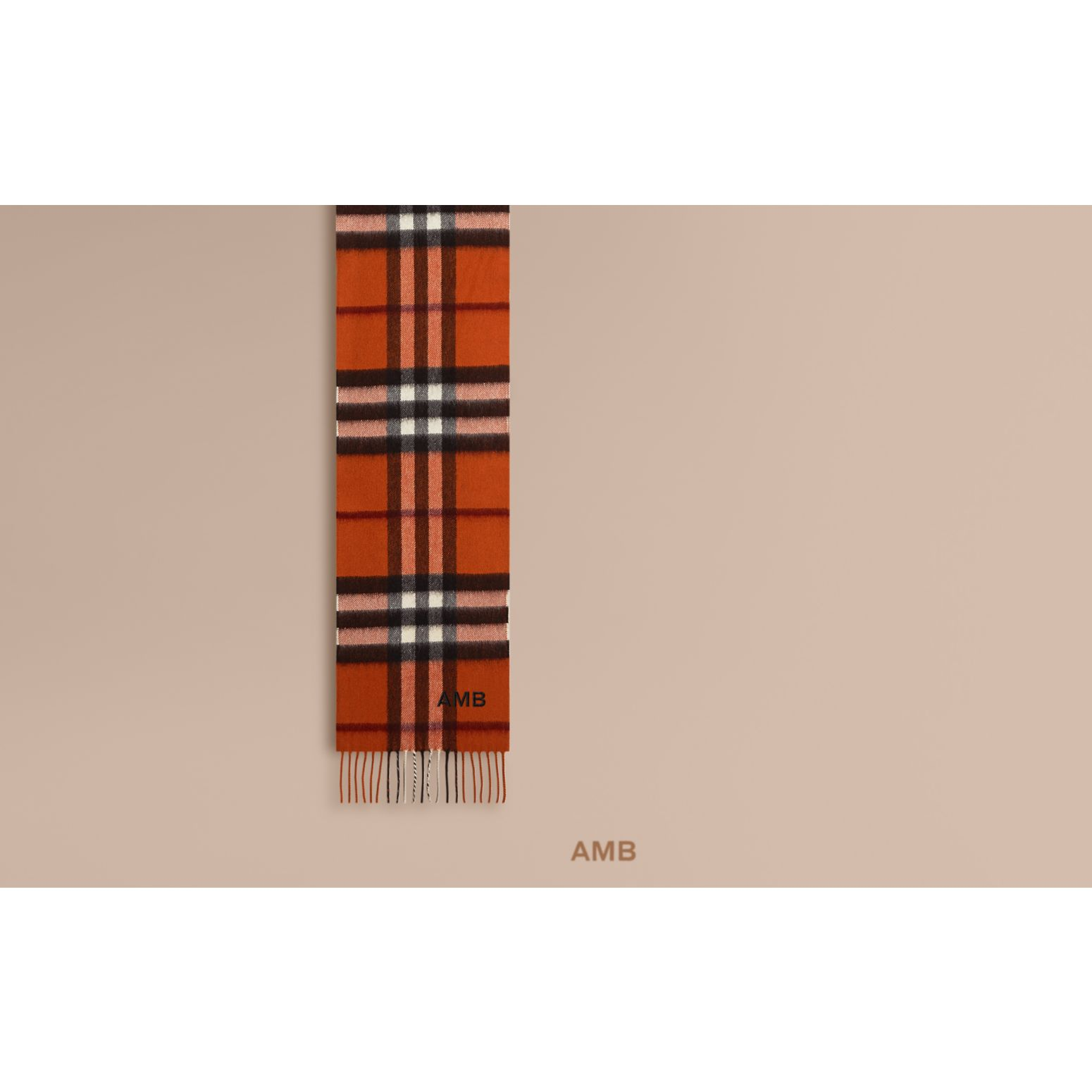 Burnt orange The Mini Classic Cashmere Scarf in Check Burnt Orange - gallery image 2