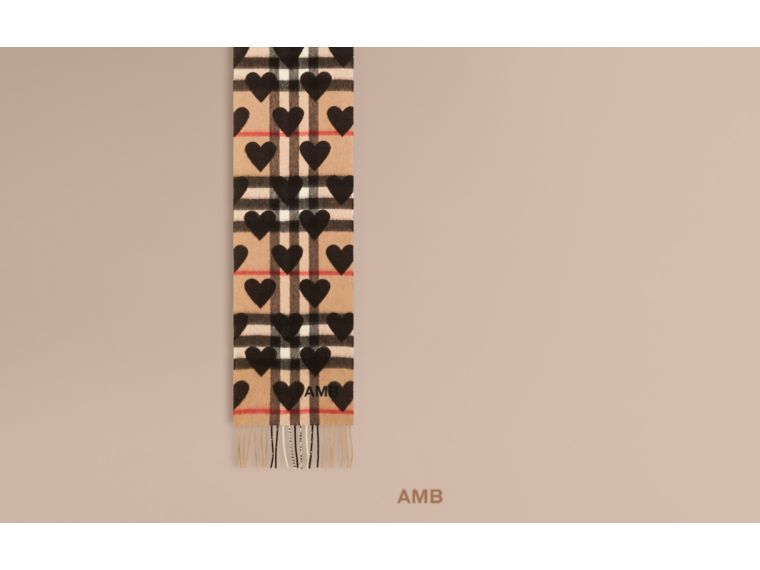 The Mini Classic Cashmere Scarf in Check and Hearts Black - cell image 1