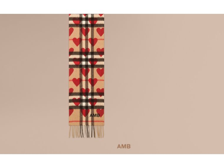 The Mini Classic Cashmere Scarf in Check and Hearts Parade Red - cell image 1
