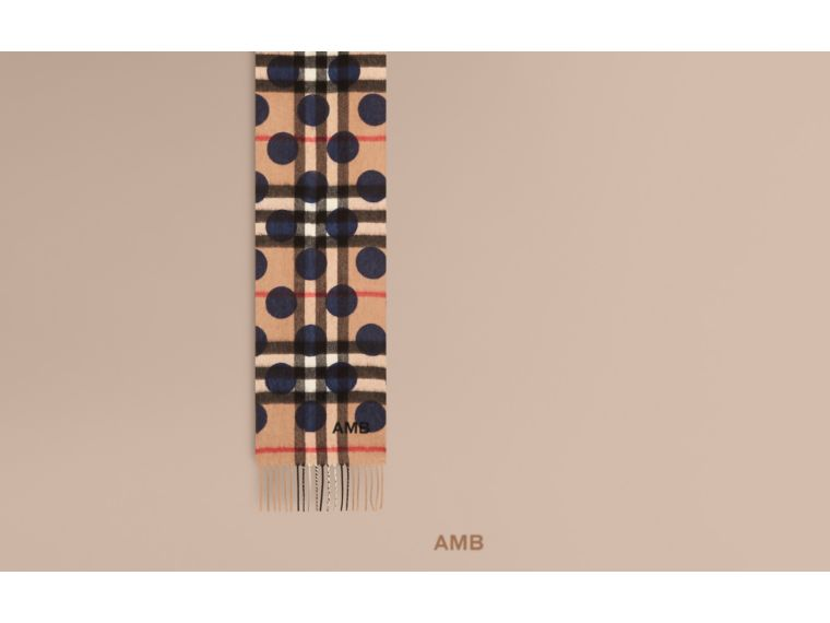 The Mini Classic Cashmere Scarf in Check and Dots - cell image 1
