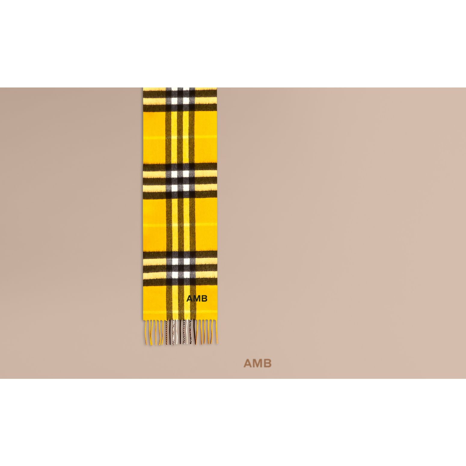 Gorse yellow The Mini Classic Cashmere Scarf in Check - gallery image 2