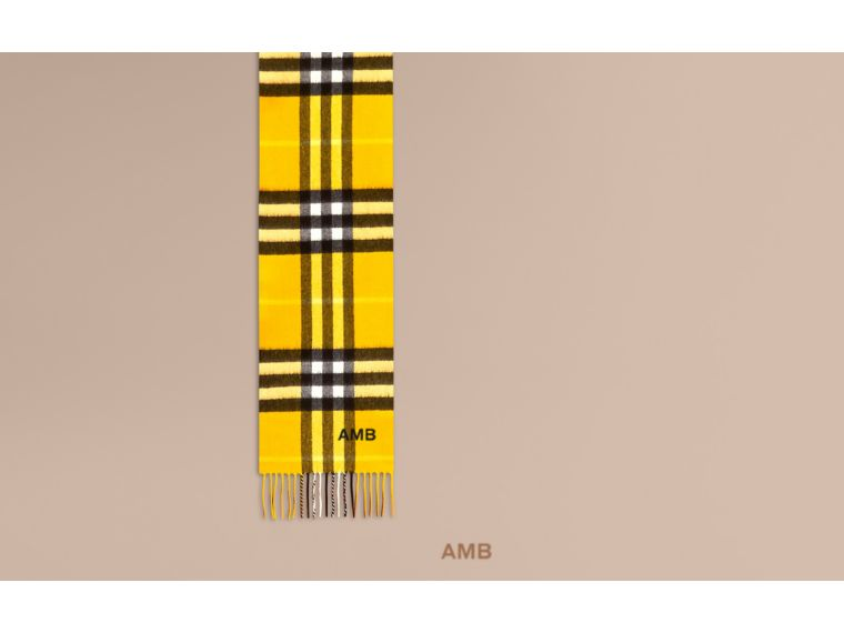 The Mini Classic Cashmere Scarf in Check in Gorse Yellow | Burberry Australia - cell image 1
