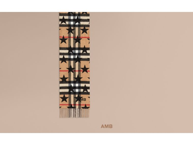 The Mini Classic Cashmere Scarf in Check with Star Print in Black - cell image 1