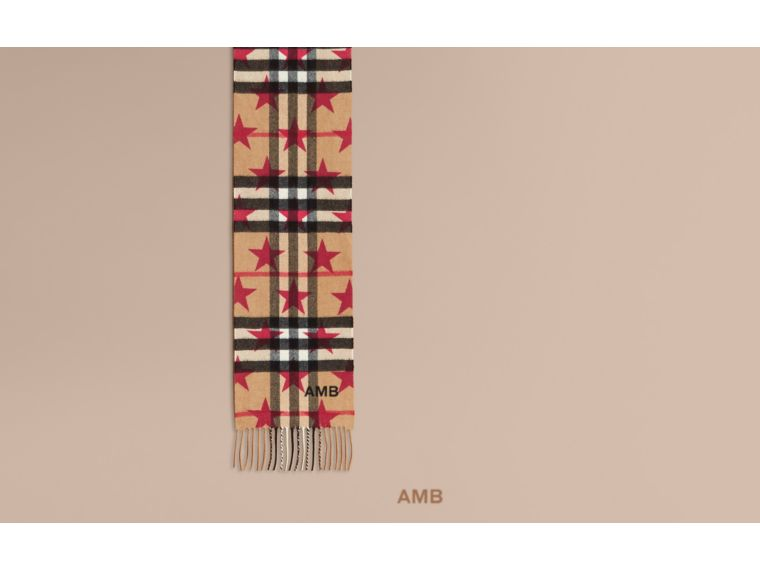 The Mini Classic Cashmere Scarf in Check with Star Print Fuschia - cell image 1