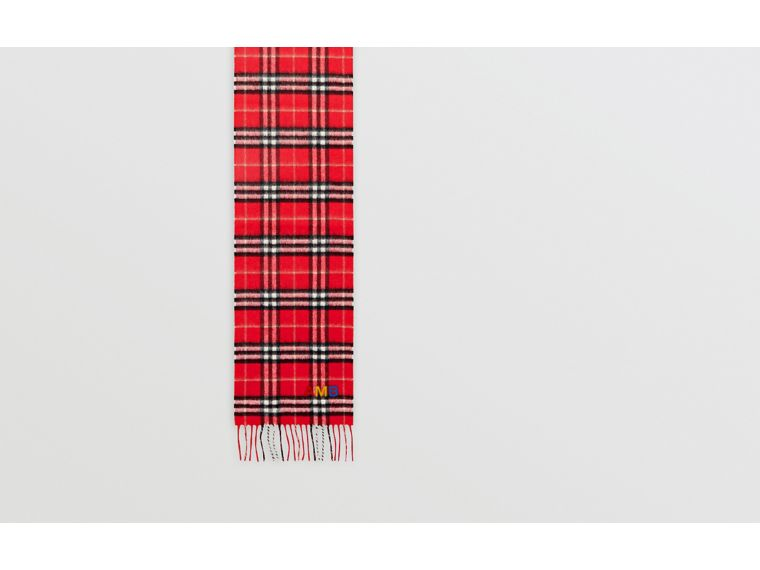 The Mini Classic Vintage Check Cashmere Scarf in Bright Red - Children | Burberry - cell image 1
