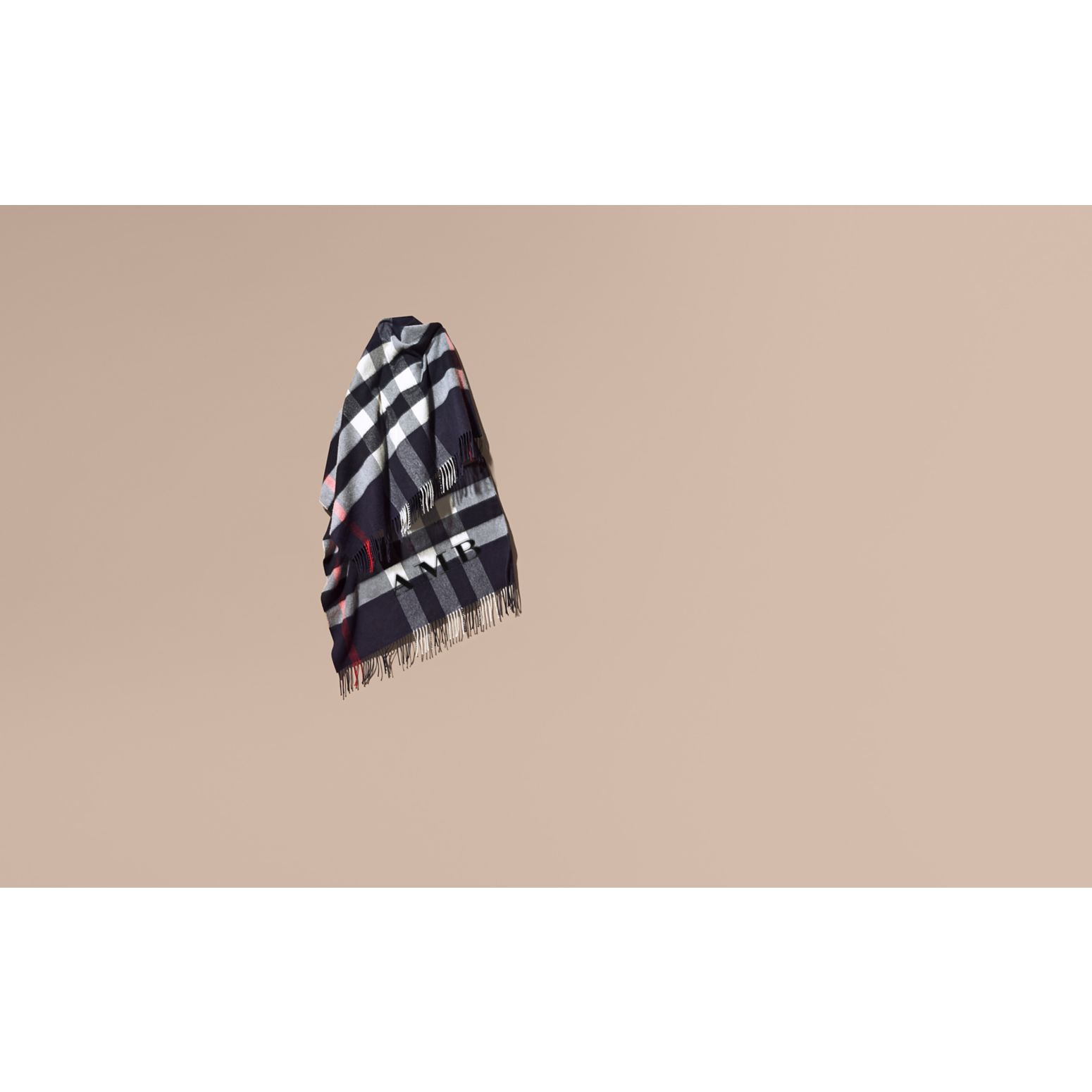Check Cashmere and Wool Poncho in Navy - Women | Burberry Canada - gallery image 2