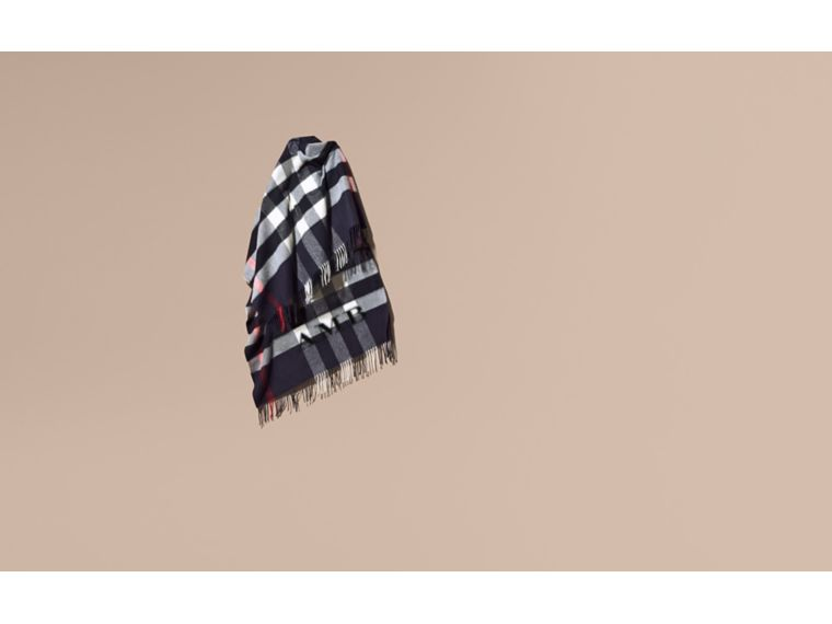 Check Cashmere and Wool Poncho in Navy - Women | Burberry - cell image 1