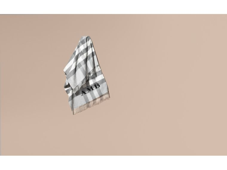 Check Cashmere and Wool Poncho Pale Grey - cell image 1