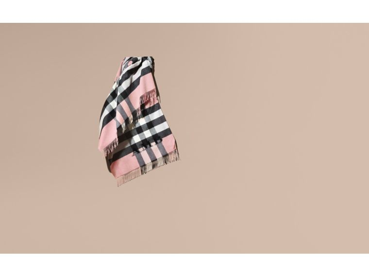 Check Cashmere and Wool Poncho in Ash Rose - Women | Burberry - cell image 1