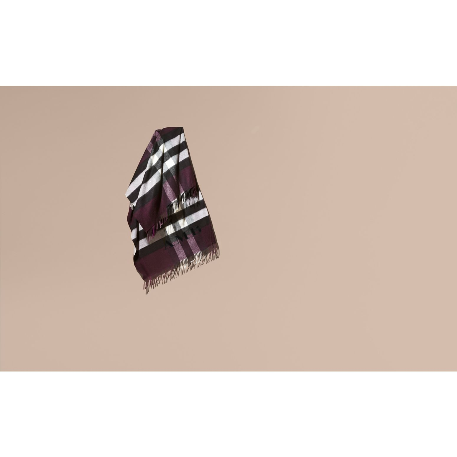 Check Cashmere and Wool Poncho Aubergine - gallery image 2