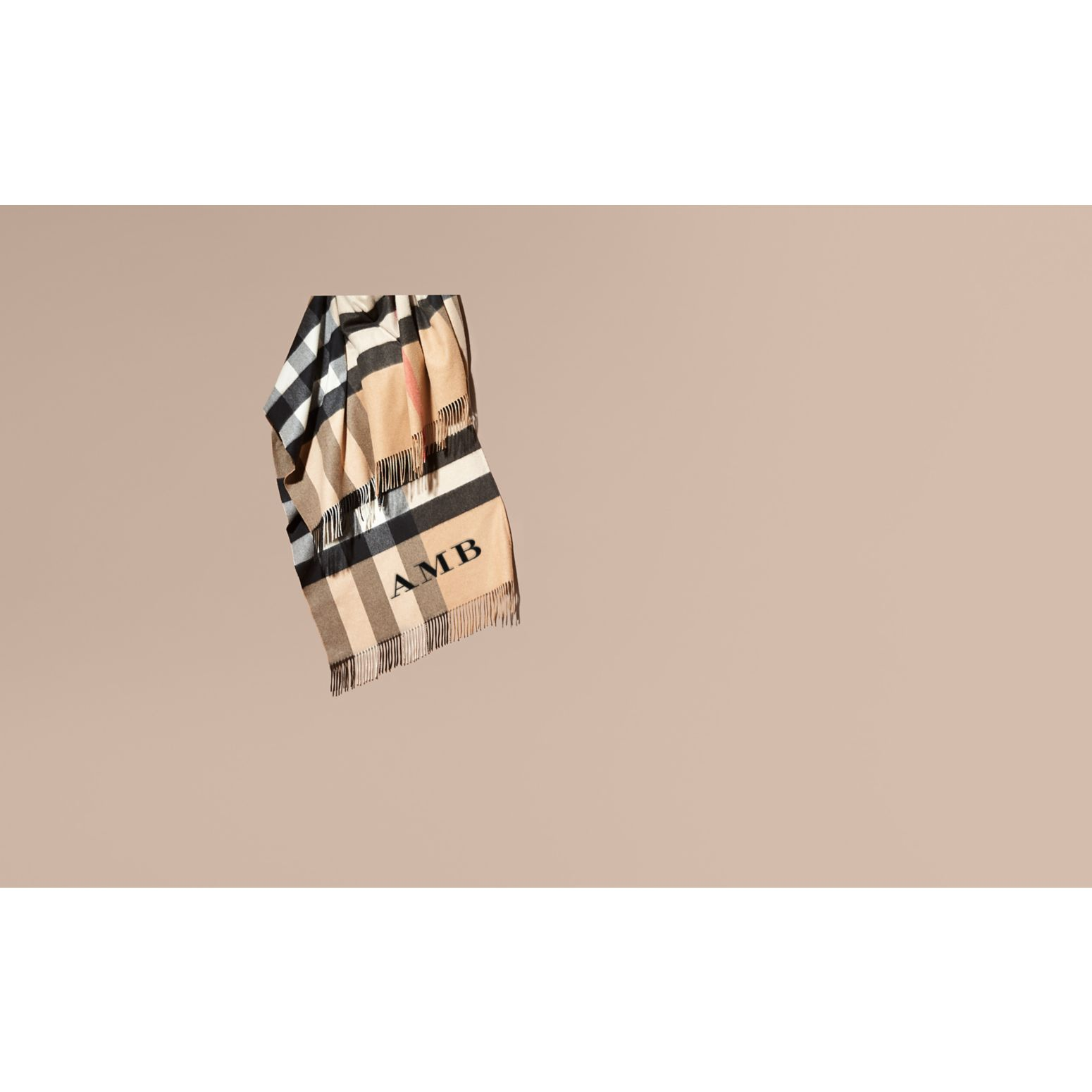 Camel Check Cashmere Poncho - gallery image 2