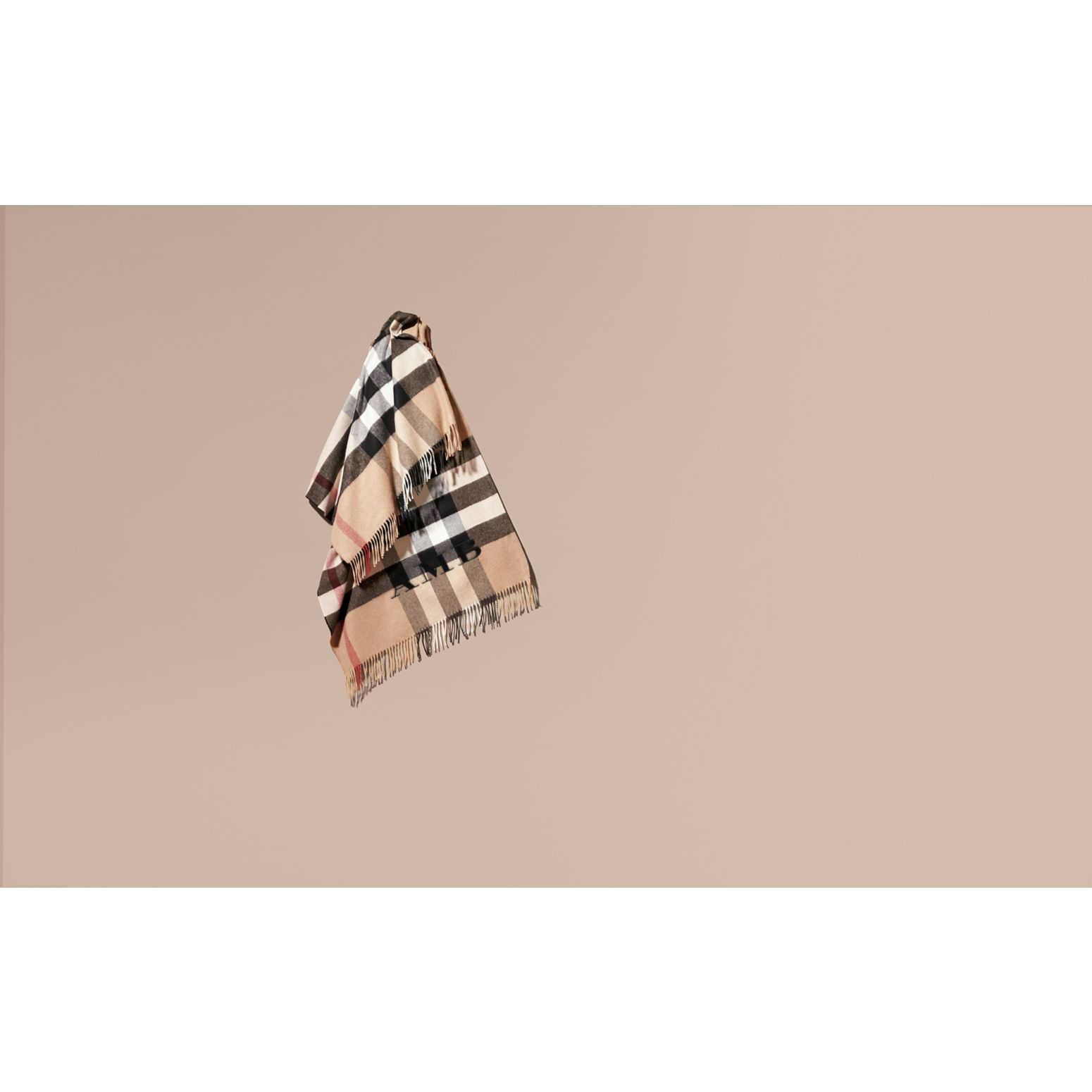 Camel Check Cashmere and Wool Poncho Camel - gallery image 2