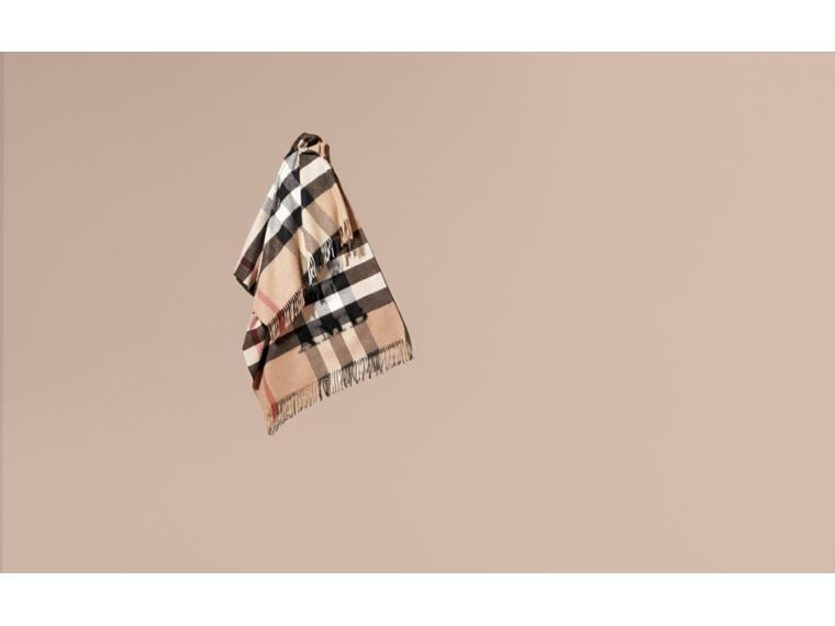 Check Cashmere and Wool Poncho in Camel - cell image 1