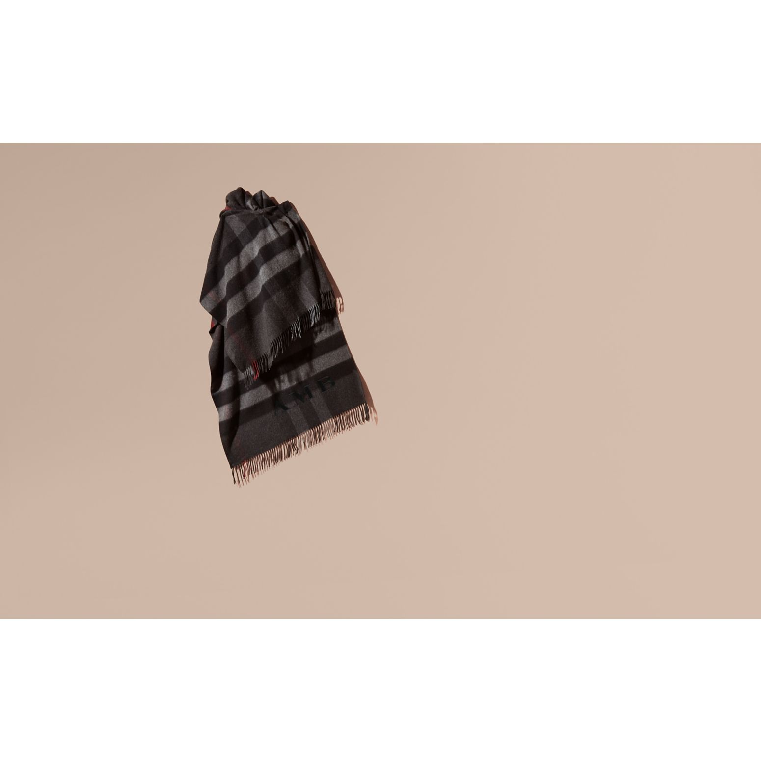 Charcoal Check Cashmere and Wool Poncho Charcoal - gallery image 2