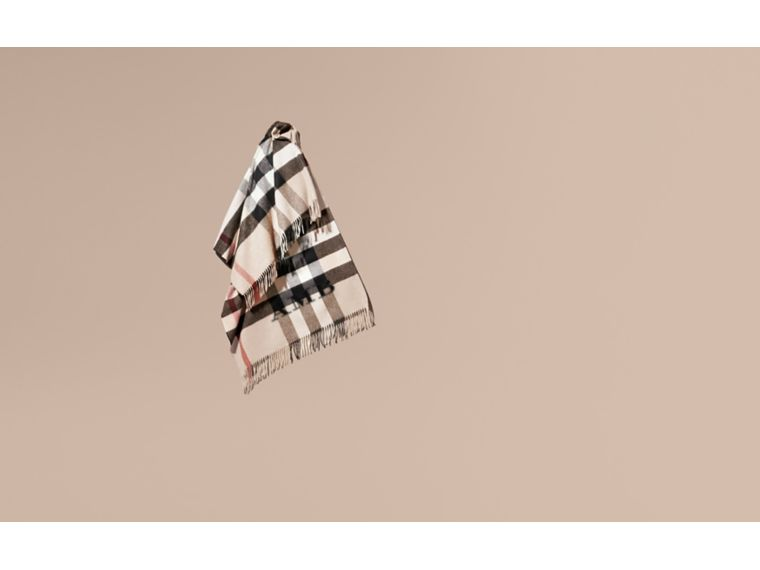 Check Cashmere and Wool Poncho Stone - cell image 1