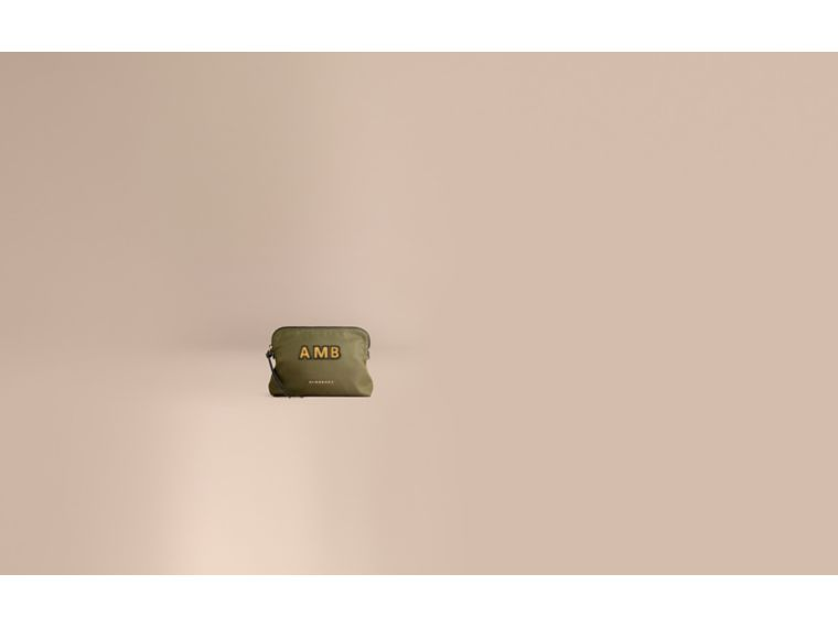 Large Zip-top Technical Nylon Pouch in Canvas Green - Women | Burberry - cell image 1