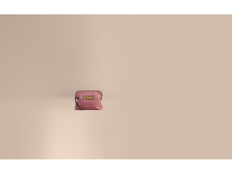Large Zip-top Technical Nylon Pouch in Mauve Pink - Women | Burberry - cell image 1