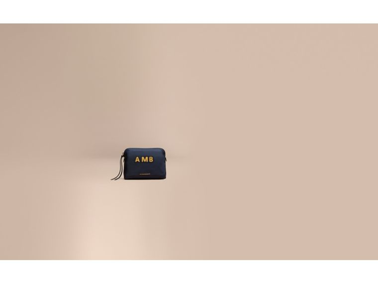 Large Zip-top Technical Nylon Pouch in Ink Blue - Women | Burberry - cell image 1