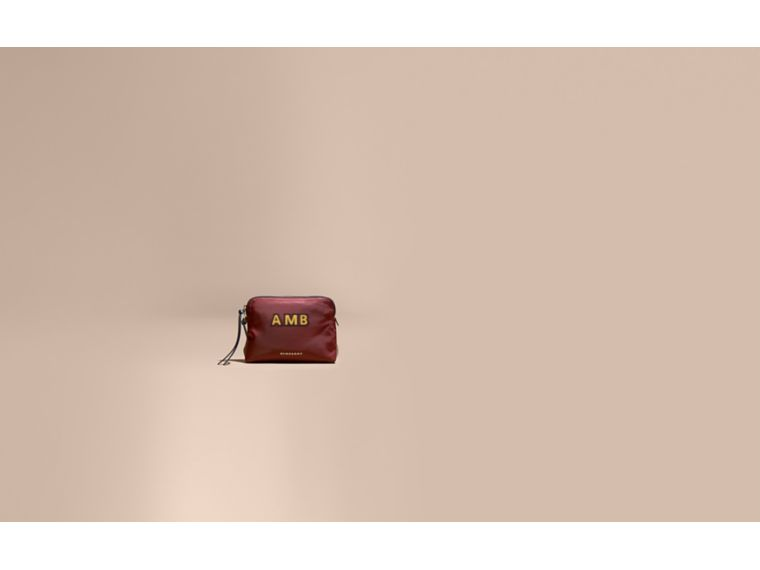 Large Zip-top Technical Nylon Pouch in Burgundy Red - Women | Burberry Hong Kong - cell image 1