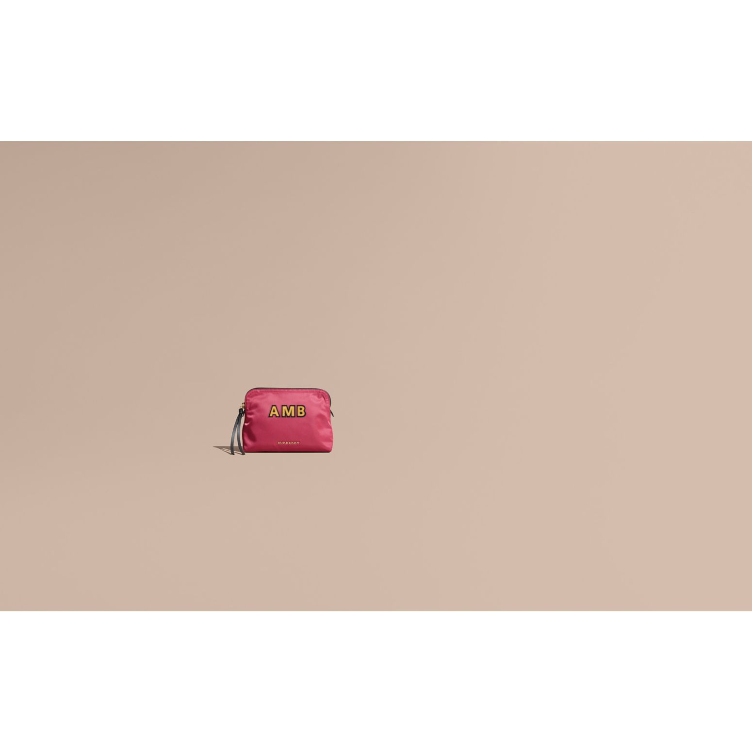 Large Zip-top Technical Nylon Pouch in Plum Pink - Women | Burberry Australia - gallery image 2