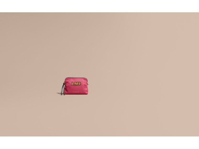 Large Zip-top Technical Nylon Pouch in Plum Pink - Women | Burberry - cell image 1