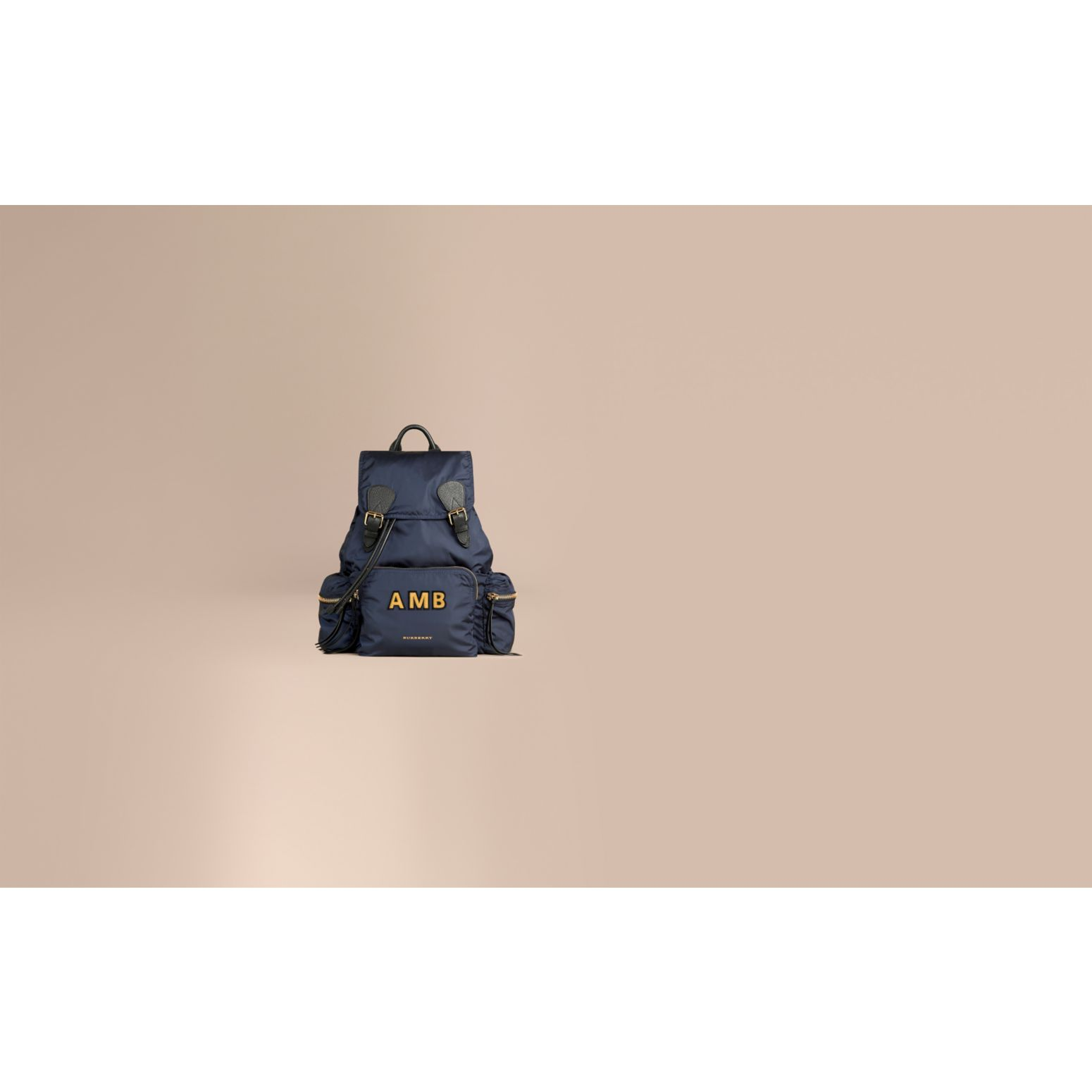 The Large Rucksack in Technical Nylon and Leather in Ink Blue - gallery image 2