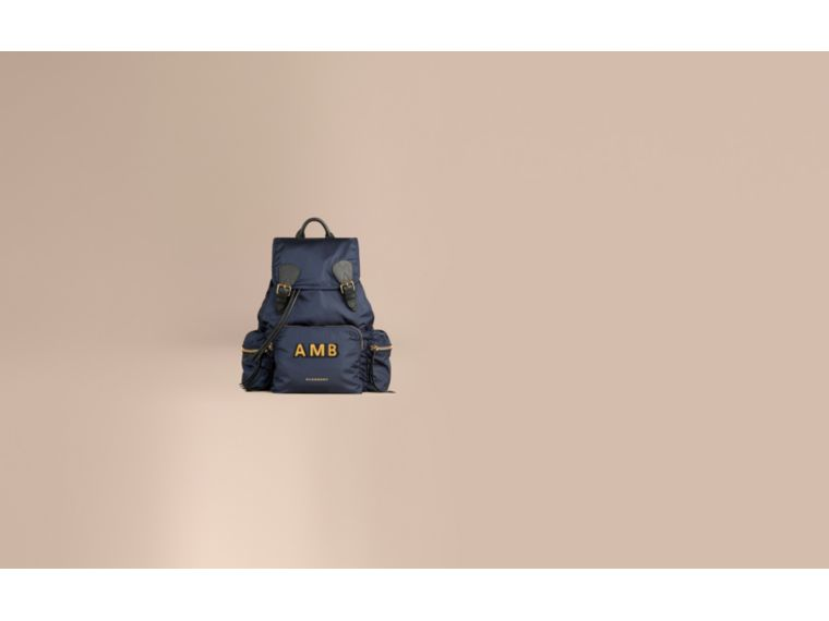 Ink blue The Large Rucksack in Technical Nylon and Leather Ink Blue - cell image 1