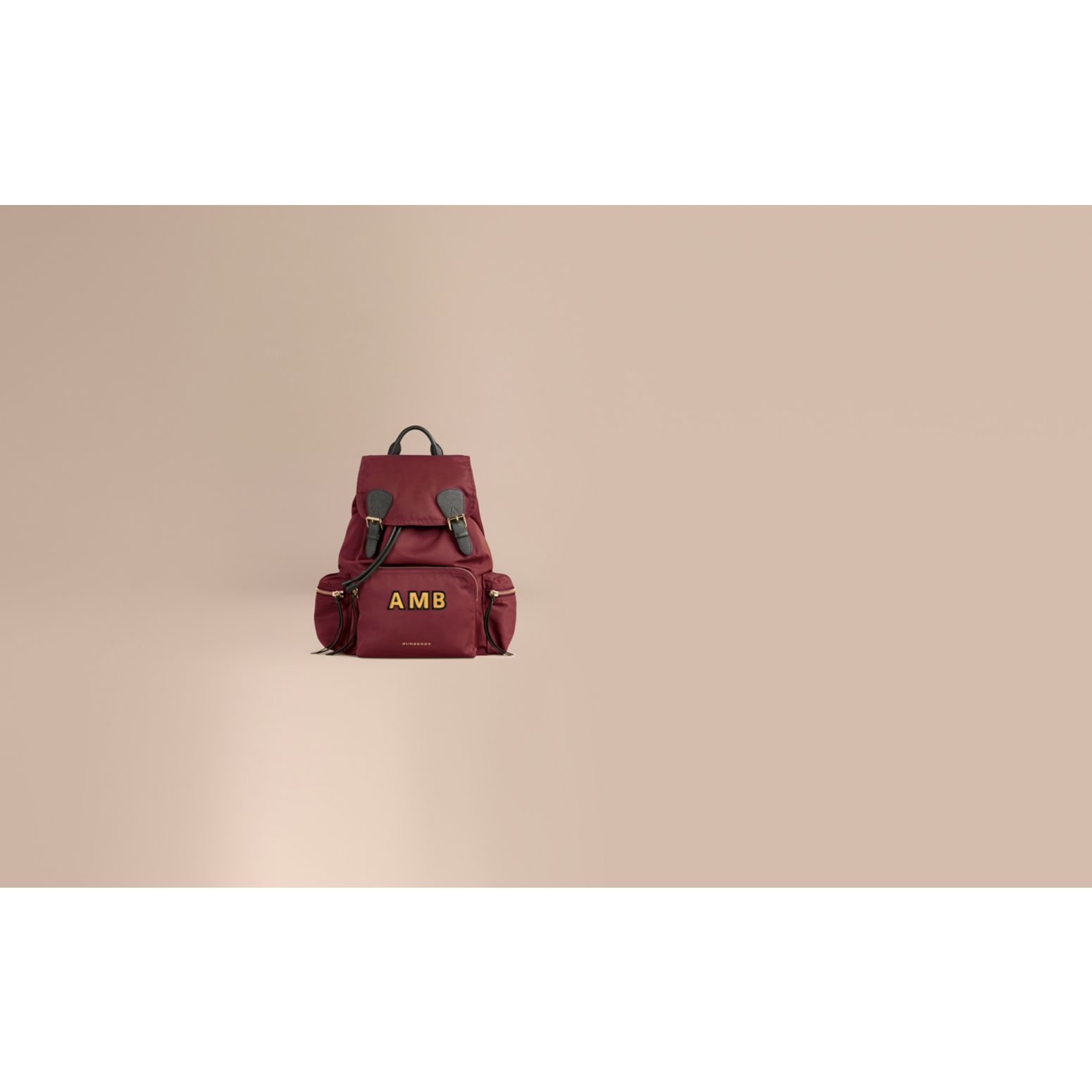 The Large Rucksack in Technical Nylon and Leather in Burgundy Red - gallery image 2
