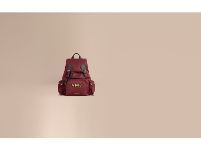 The Large Rucksack in Technical Nylon and Leather in Burgundy Red - cell image 1