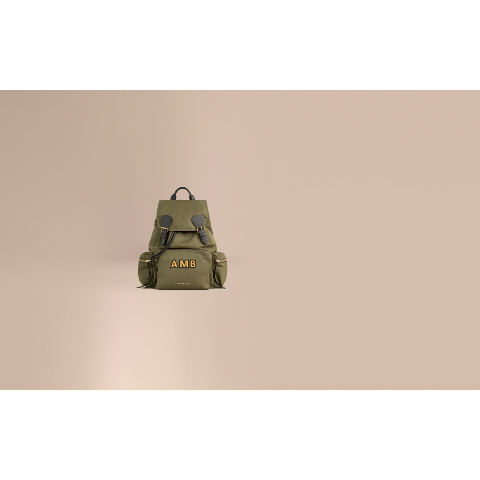 The Large Rucksack in Technical Nylon and Leather in Canvas Green - gallery image 2