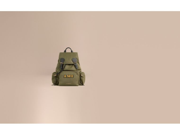 The Large Rucksack in Technical Nylon and Leather in Canvas Green - cell image 1