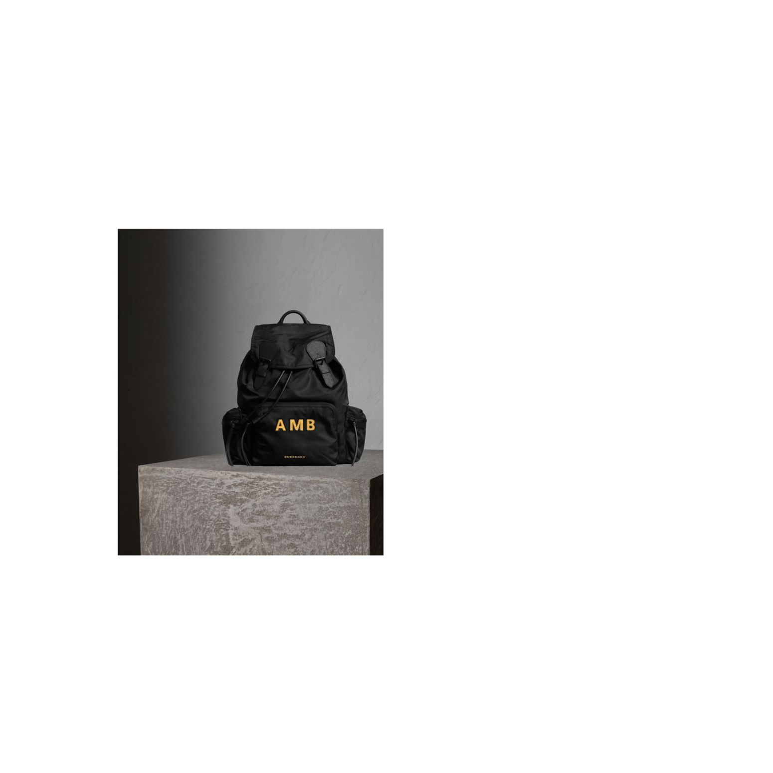 The Large Rucksack in Technical Nylon and Leather in Black - gallery image 2