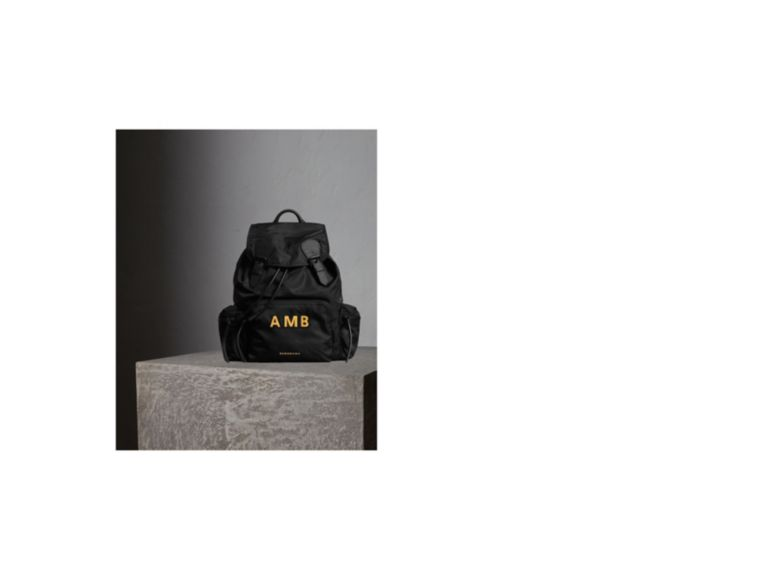 The Large Rucksack in Technical Nylon and Leather in Black - cell image 1