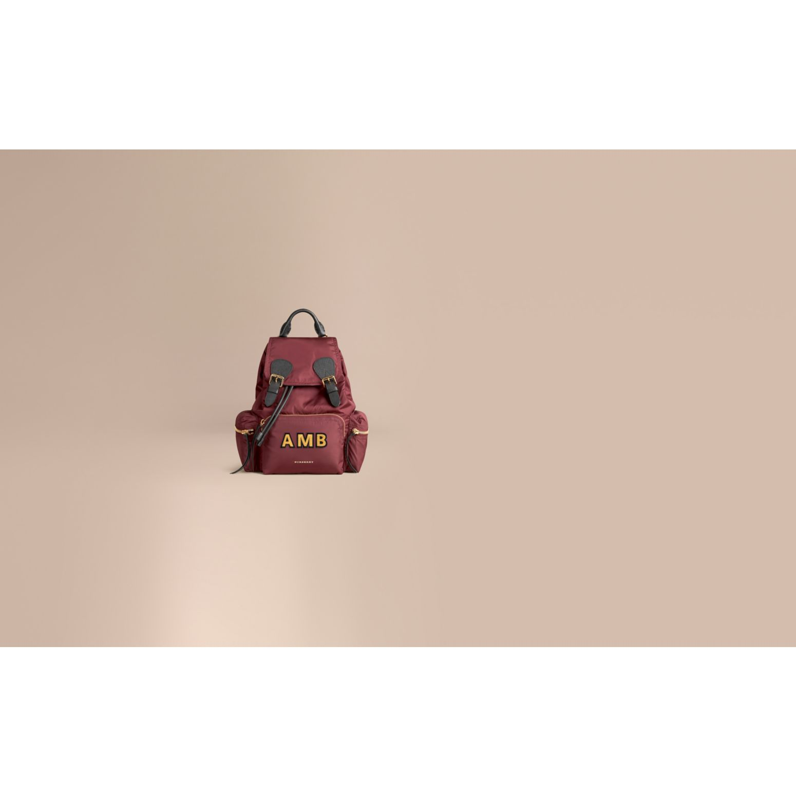 The Medium Rucksack in Technical Nylon and Leather in Burgundy Red - gallery image 2