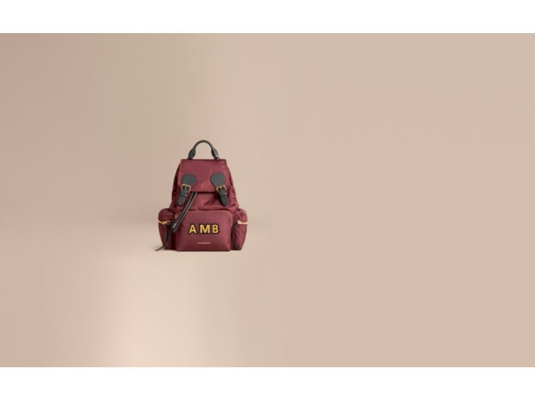 The Medium Rucksack in Technical Nylon and Leather in Burgundy Red - Women | Burberry United Kingdom - cell image 1
