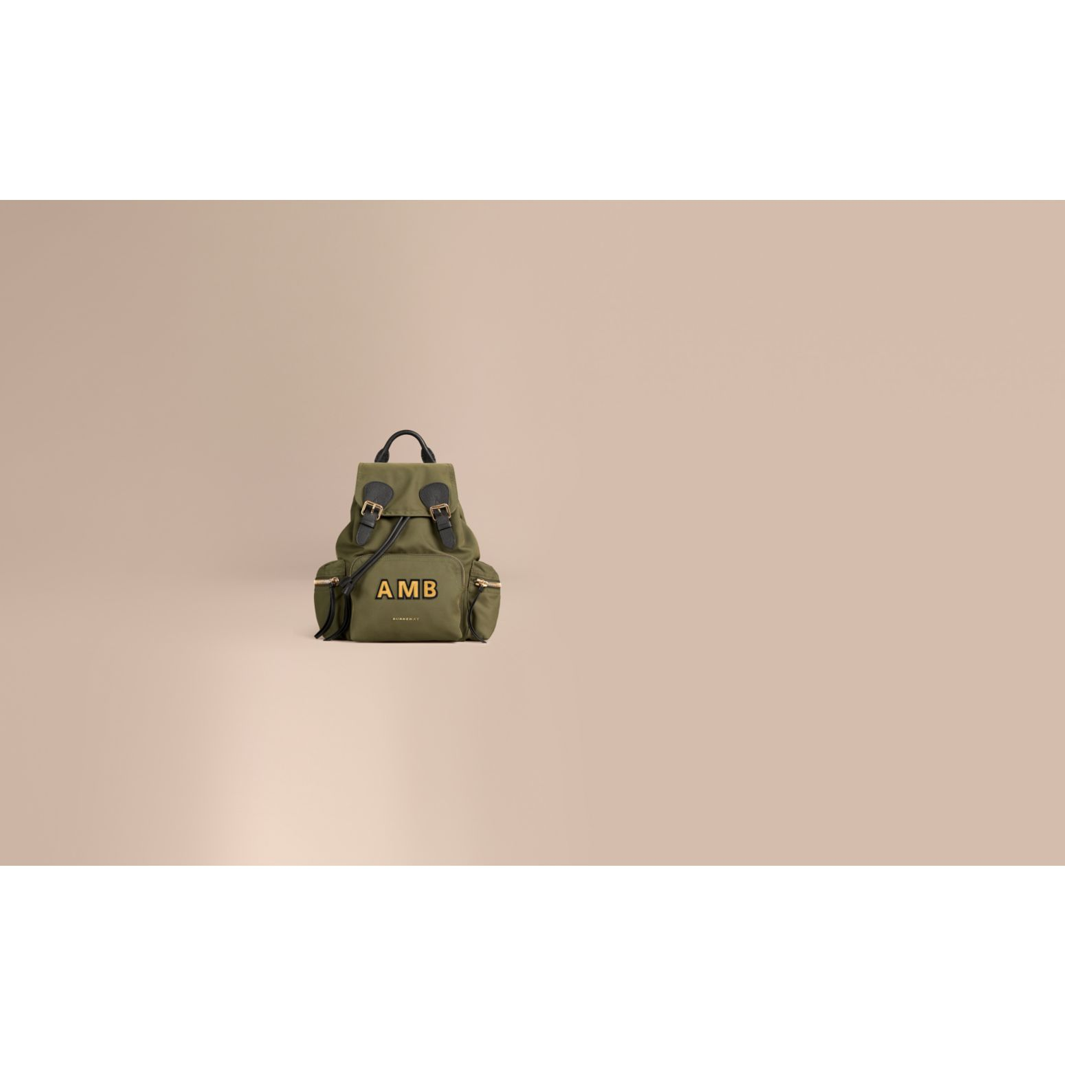 The Medium Rucksack in Technical Nylon and Leather in Canvas Green - gallery image 2